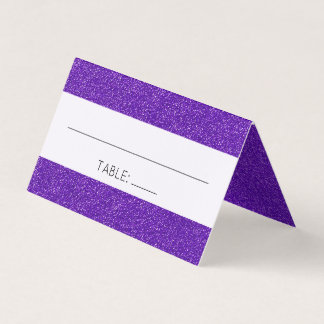 Wedding - Shiny Glitter, Shimmer - Purple Place Card