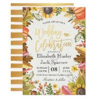 Wedding Shower Autumn Fall Maple Leaves Pumpkin Card