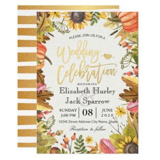 Wedding Shower Autumn Fall Maple Leaves Pumpkin Card