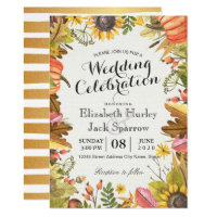 Wedding Shower Autumn Fall Maple Leaves Pumpkin Invitation