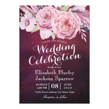 Wedding Themed Wedding Shower Boho Floral Feathers Burgundy Red Card