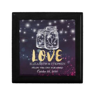 Wedding Shower Chic Mason Jar Purple String Lights Jewelry Box