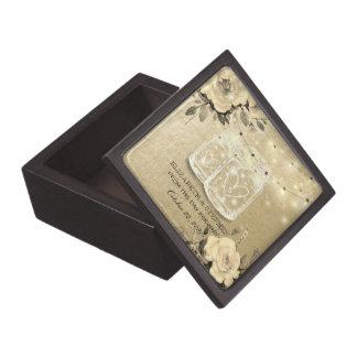 Wedding Shower Floral Mason Jar String Lights Gold Jewelry Box