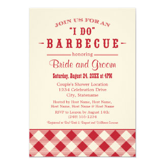 "Wedding Shower Invitation | Casual BBQ in Red 5"" X 7"" Invitation Card"