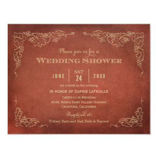 "Wedding Shower Invitation   Vintage Vineyard 4.25"" X 5.5"" Invitation Card"