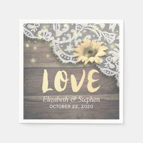 Wedding Shower Lace Sunflower Rustic Wood Lights Napkin