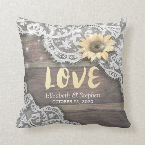 Wedding Shower Lace Sunflower Rustic Wood Lights Throw Pillow
