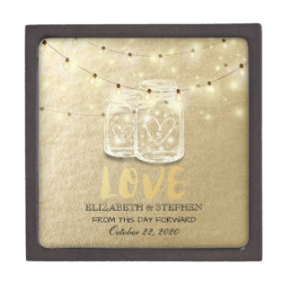 Wedding Shower Mason Jar String Lights Gold Foil Jewelry Box