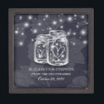 "Wedding Shower Mason Jars String Lights Navy Blue Gift Box<br><div class=""desc"">Modern Wedding Gift Box Templates - Elegant Mason Jar and String Lights on Navy Blue Floral Linen Background.