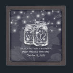 """Wedding Shower Mason Jars String Lights Navy Blue Gift Box<br><div class=""""desc"""">Modern Wedding Gift Box Templates - Elegant Mason Jar and String Lights on Navy Blue Floral Linen Background. A Perfect Design for your Big Day. All text style,  colors,  sizes can be modified to fit your needs!</div>"""