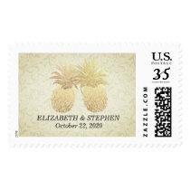 Wedding Shower Modern Gold Pineapples Damask Paper Postage