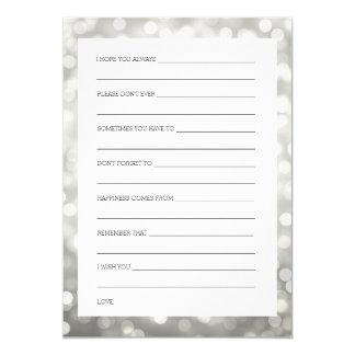 Wedding Shower Wishes Silver Glitter Lights Card