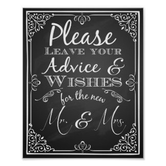 Wedding sign advice and well wishes new Mr & Mrs