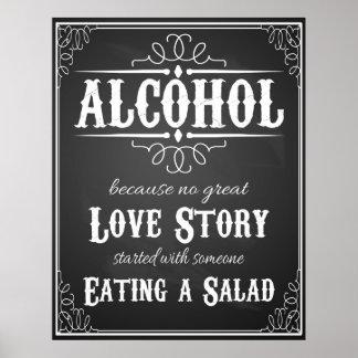 Wedding sign Alcohol BLACKBOARD-CHALKBOARD Poster