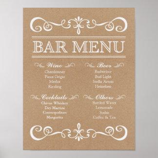 Wedding Sign – Bar Menu Rustic Wedding Sign