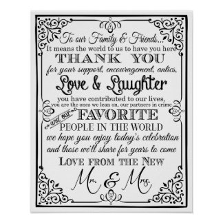 wedding sign black and white thank you sign poster