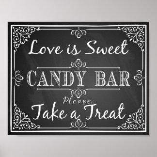Wedding sign candy bar love is sweet chalkboard