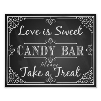 Wedding sign candy bar love is sweet chalkboard