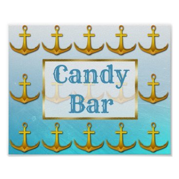 Wedding Themed Wedding Sign Candy Bar Oceanic Aqua Blue & Gold