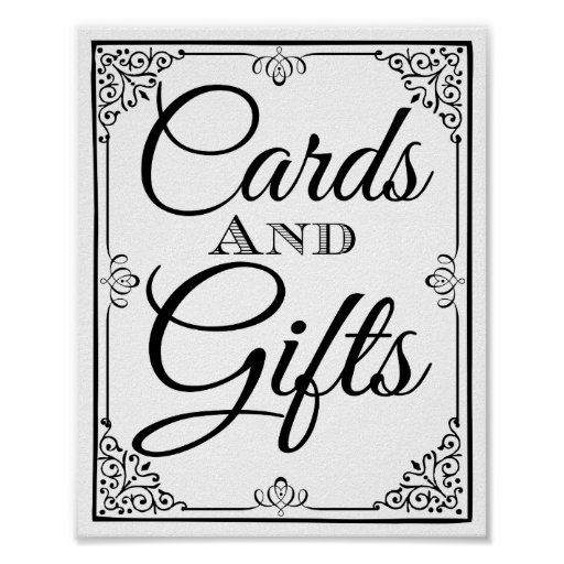 Wedding sign cards and gifts table poster : Zazzle