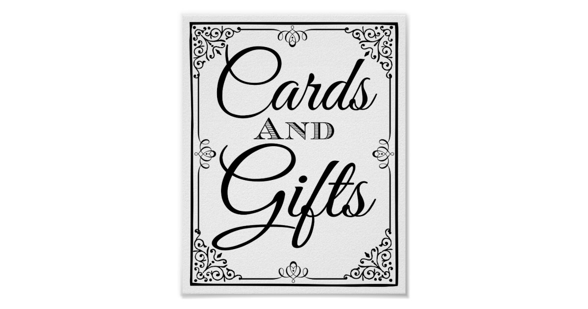 wedding sign cards and gifts table poster zazzle. Black Bedroom Furniture Sets. Home Design Ideas