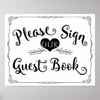 "Wedding sign chalkboard ""Guest book"" custom color Poster"