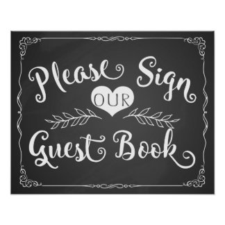 """Wedding sign chalkboard """"Guest book"""" Poster"""