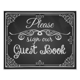 Wedding sign chalkboard guest book poster