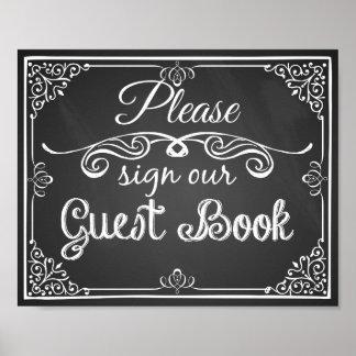 "Wedding sign chalkboard ""Guest book"" print"