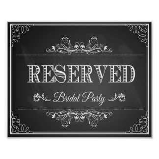 Wedding sign chalkboard reserved bridal party poster
