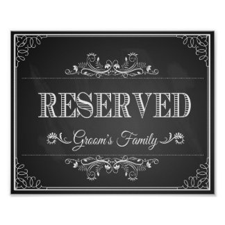"""Wedding sign chalkboard """"Reserved"""" grooms family"""