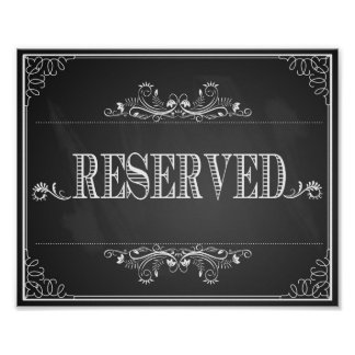 Wedding sign chalkboard reserved table poster