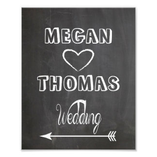 Wedding sign Chalkboard style  party way left Photo Print