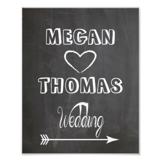 Wedding sign Chalkboard style  party way right