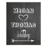 Wedding sign Chalkboard style  party way right Photo Print