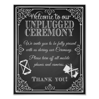 "Wedding sign chalkboard ""unplugged ceremony poster"
