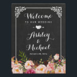 "Wedding Sign Classy Vintage Chalkboard Floral<br><div class=""desc"">================= ABOUT THIS DESIGN ================= Wedding Reception Sign Vintage Chalkboard Floral Poster Template. (1) The default size is 8.5 x 11 inches, you can change it to any size. (2) All text style, colors, sizes can be modified to fit your needs. (3) If you need any customization or matching items,...</div>"