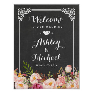 Wedding Sign Classy Vintage Chalkboard Floral Poster at Zazzle