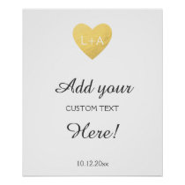 Wedding sign custom text, faux gold heart template poster