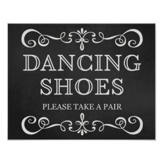 Wedding Sign – Dancing Shoes Chalkboard Sign