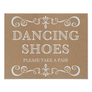 Wedding Sign – Dancing Shoes Rustic Wedding Sign