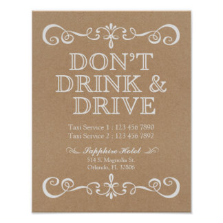 Wedding Sign – Don't' Drink & Drive Rustic Sign