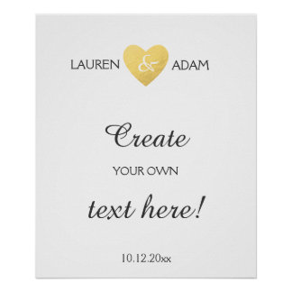 Wedding sign faux gold heart, custom text template