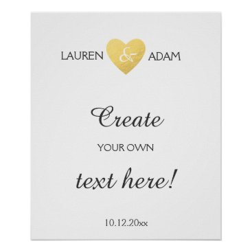 Valentines Themed Wedding sign faux gold heart, custom text template
