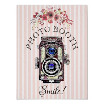 Art Themed Wedding Sign for Photo Booth, Coral  Floral Camera