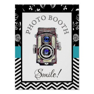 Wedding Sign for Photo Booth, Vintage Camera