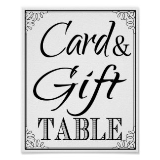 Wedding sign Gift & Card Table vintage Poster