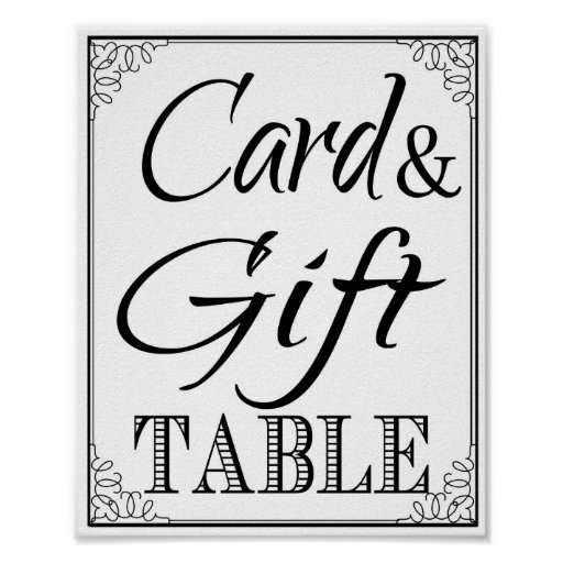 Wedding Gift Card Sign : Wedding sign Gift & Card Table vintage Poster Zazzle
