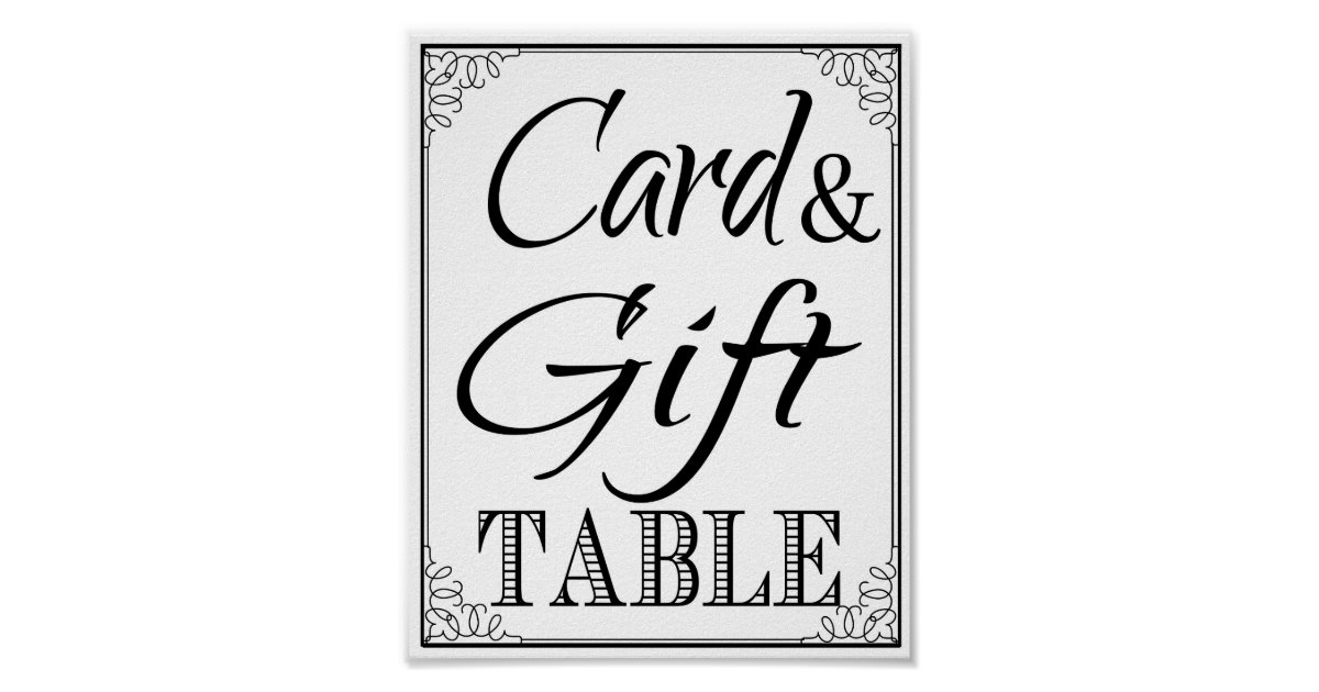 Wedding Gift Card Table : Wedding sign Gift & Card Table vintage Poster Zazzle