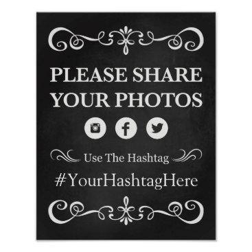 Beach Themed Wedding Sign – Hashtag Wedding Chalkboard Sign